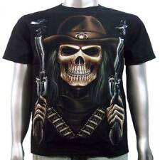 Skull Sheriff Cowboy Hat Magnum Handgun Glow In Dark Tattoo Mens T-Shirt M & L