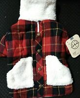 Bond & Co. Faux-Shearling and Flannel Dog Jacket, Large By: Bond & Co