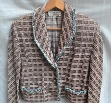 ST JOHN AUTH $1499 Women Brown and Turquoise Knit with fringe edge Jacket Size L