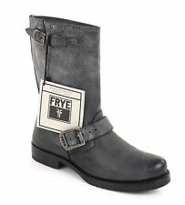 "FRYE ""Veronica"" Short Gray Black Leather Buckle Motorcycle Riding Ankle Boots 7"