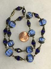 VINTAGE MURANO COBALT BLUE BEAD GLASS CRYSTAL SWIRL LAMP CREM WORK NECKLACE MINT