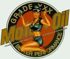Pair (2) Sexy Retro Motor Oil  Pin Up Girl in Black Leather Stickers OOP Rare