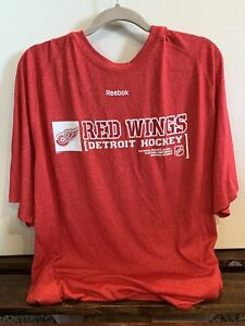 Authentic Detroit Red Wings NHL Reebok Speedwick Training XXL Shirt. Red. Rare