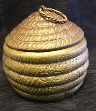 Vintage Rare Brass Lidded Pot Rope Style or Beehive Honey Pot Unique Hand Tooled