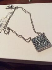 $42 Kenneth Cole Silver Tone Square Beaded Pendant Necklace #3A