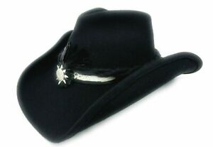 """Official Shady Brady """"SnakeSkin"""" CRUSHABLE Black Wool Cowboy Hat Size MED BCW22"""