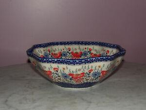 Polish Pottery Medium 10-Sided Bowl! UNIKAT Signature Sweet Harmony Pattern!