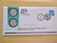 2001 P & D KENTUCKY CLAD STATE QUARTER OFFICIAL COMMEMORATIVE COIN COVERS P & D