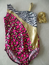 NEW BALERA DANCEWEAR LEOTARD dance gymnastics ZEBRA hair scrunchie CHILDS LARGE