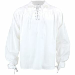 White Pirate Shirt Fancy Dress Cotton Billowy Costume Men Buccaneer Caribbean