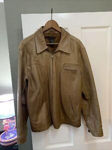 Vintage Claiborne Men's Brown Leather Jacket coat Size LARGE Beautiful Soft