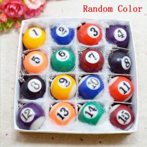 1× Pool Billiard Keyring Ball Keychain Key Ring 2.5cm Color Random Style Random