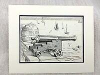 Originale Inchiostro Disegno Schizzo Porto Vista Vela Imbarcazioni Cannone Pesca