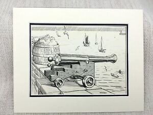 Original Ink Drawing Sketch Harbour View Sailing Boats Cannon Fishing Signed