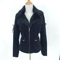 Arden B Jacket Rabbit Fur Trim Womens Size M Black Corduroy Full Zip Thick Lined