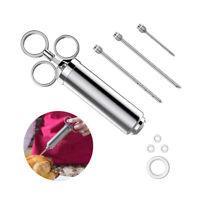 Neue Edelstahl Fleischinjektor Kit mit 3 Marinadennadeln zum Grillen BBQ Gewürz