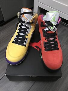 """Mens' NIKE AIR JORDAN 5 """"WHAT THE"""" Retro Trainers Size UK 9 Brand New Boxed."""