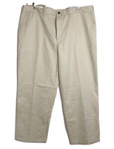 St. John's Bay Mens Worry Free Khaki Chino Pants Flat Front Size 42 x 30 NWT