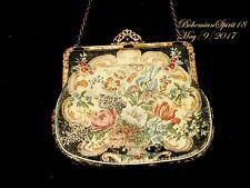 Antique Vintage 30's Tapestry Made In Austria Jewel Frame Evening Purse Handbag