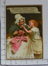 WARNERS SAFE YEAST GRANDMOTHER SEWING PINK DRESS GIRL HOLD CANISTER YEAST 1567
