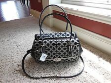 Coach Op Art Madison Signature Satchel 25638 Black /White $278 NWT