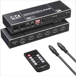 4K HDMI EDID Matrix 4 In 2 Out 4X2 Dual Audio Output Fiber HDMI Switch Distribut