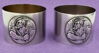 Unusual pair of silver napkin rings William Tell 800 standard