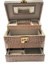 Leather Beauty Case Make Up Cosmetic Vanity Storage Pull Up To Open Lock Mirror