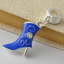 White Golden Silver Filled Womens jewelry Blue Enamel Shoe Charm Beads