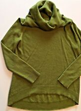 COLDWATER CREEK S 8 Green Hi Lo Cowl Neck Wool Blend