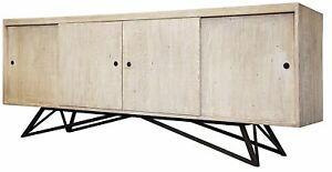 """88"""" L Sideboard Solid Hand Crafted Old Wood Contemporary Forged Steel Base"""