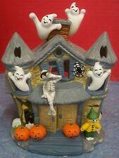 partylite halloween decor haunted tealight house porcelain looks never used iob