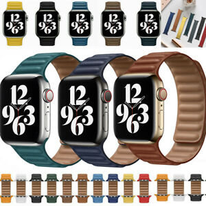Magnetic Leather Link Loop Wristwatch Band For Apple iWatch Series 7 6 5 4 3 2