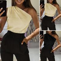 Womens One Shoulder Bardot T-Shirt Vest Cami Tops Summer Party Club Blouse Shirt