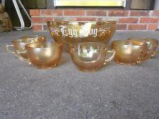 Jeannette Marigold Carnival Glass Egg Nog Bowl and 6 Cups