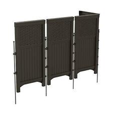 Suncast 4 Freestanding Wicker Resin Reversible Outdoor Panel Screen Enclosure,