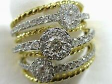 Designer Pave Diamond 18Kt W&Y Gold Cluster Rope Bands Right Hand Ring #R16739Yw