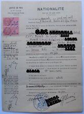 DOCUMENT DEMANDE DE NATURALISATION MARSEILLE le 29-8-40 ENREGISTREMENT 13-9-1940