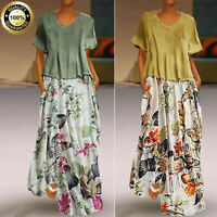 Summer Women Vintage Kaftan Cotton Linen Short Sleeve Two Pieces Maxi Dress Plus