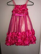 Girls Dress Size 8 Bonnie Jean Dark Bright Pink Roses
