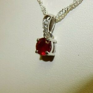 Genuine Madascan Ruby & White Zircon Sterling Silver Pendant with Chain Necklace