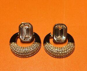Swarovski Black Enamel Crystal Hoop Earrings