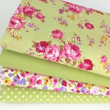 4 fat quarter fabric  bundle Lime green & pink floral mix 100 % cotton poplin