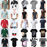 Mens Plain T-shirt Cotton Round/VNeck Mens T-Shirts Tee Top Regular Casual S-5XL