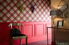 252704 Fairburn by Arthouse Raspberry Pink Green Check Tartan Vintage Wallpaper