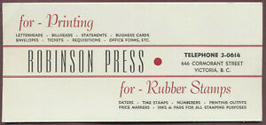 "Robinson Press INK BLOTTER 7-5/8"" Printing Rubber Stamps Victoria BC Canada"