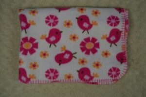 Garanimals Pink Birds Baby Blanket Orange Flowers Floral Fleece Stitched Edge