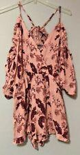 TopShop Womens Pink Floral Cold Shoulder Playsuit Romper Size Medium New