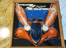 1980s Vintage Zz Top 12X12 Framed Carnival Mirror Foil Glass Picture Wall Art