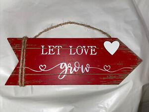 "New! ""LET LOVE GROW"" Arrow Wood Sign Distressed Farmhouse Wedding Love VALENTINE"
